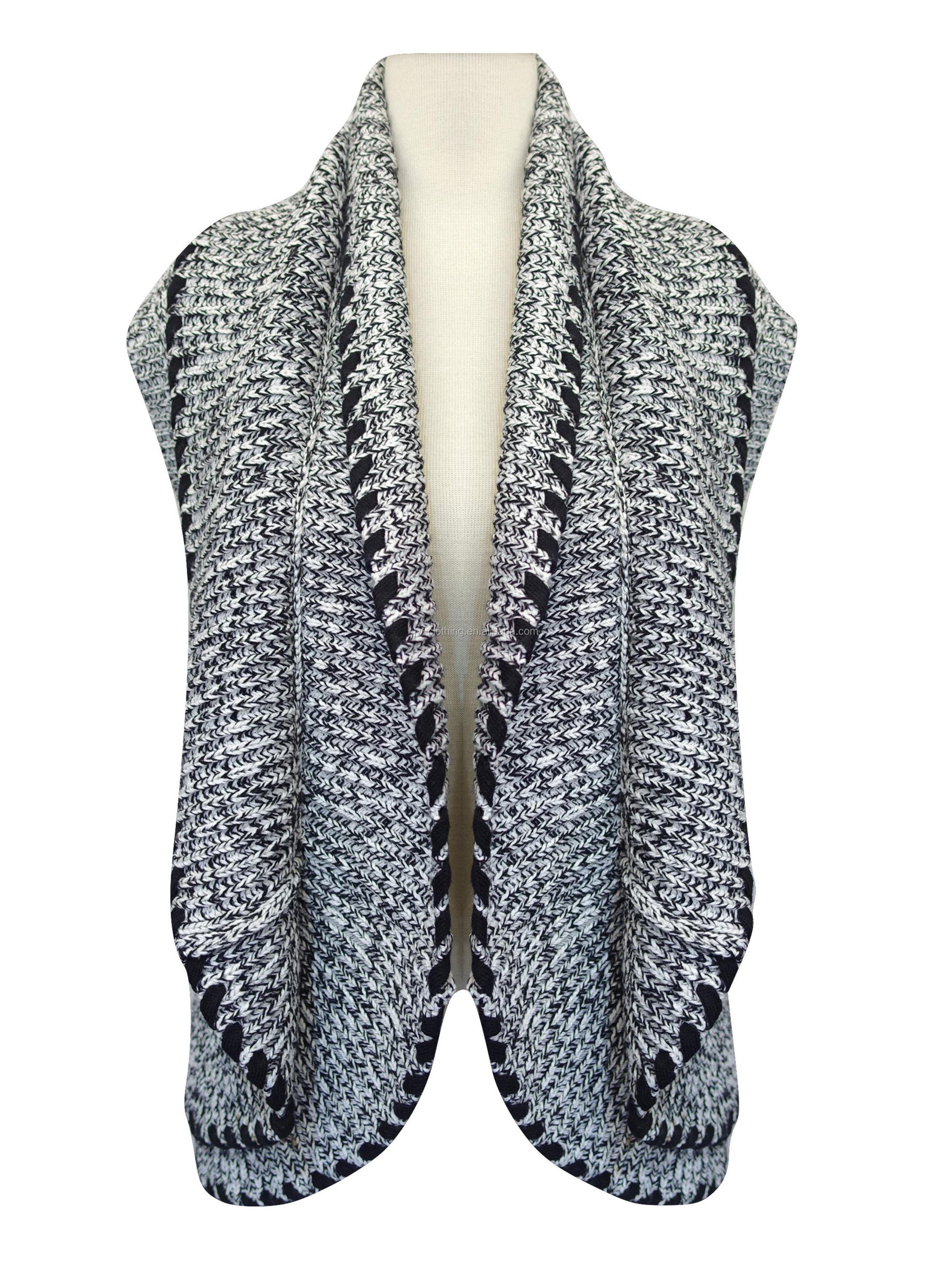 cashmere-like sleeveless ladies cardigan black white 5GG texture woman sweater with ribbon decoration