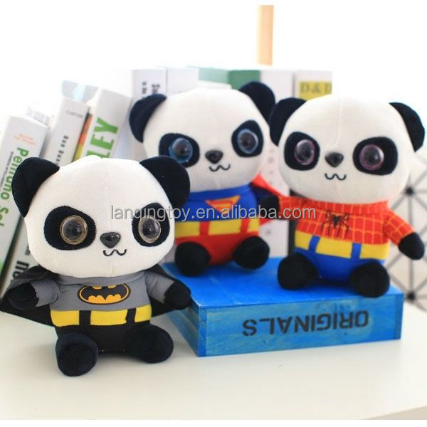 Stuffed Animal toy plush panda bear With Spider-man Clothes