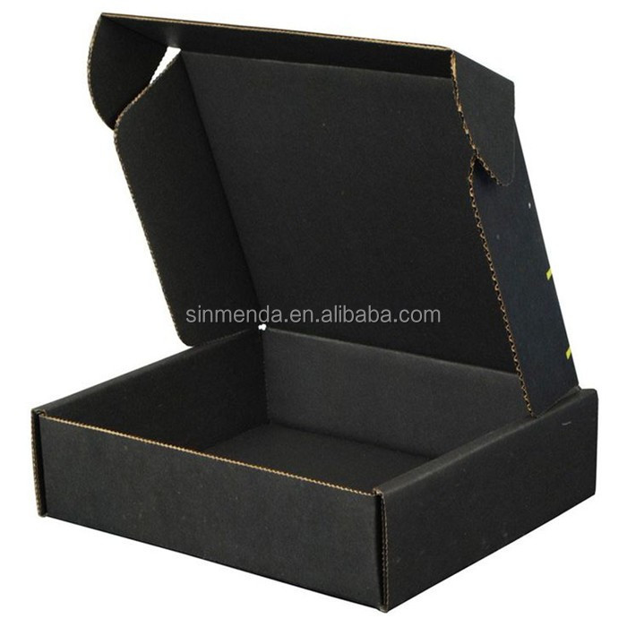 Custom high quality hard black corrugated box luxury t shirt mailer packaging box
