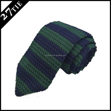 Hot selling green silk knitted tie ,point end shape knitted necktie