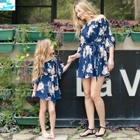 HFS1320B Summer Kids Clothing Outfits Mother Daughter Matching Floral Dresses