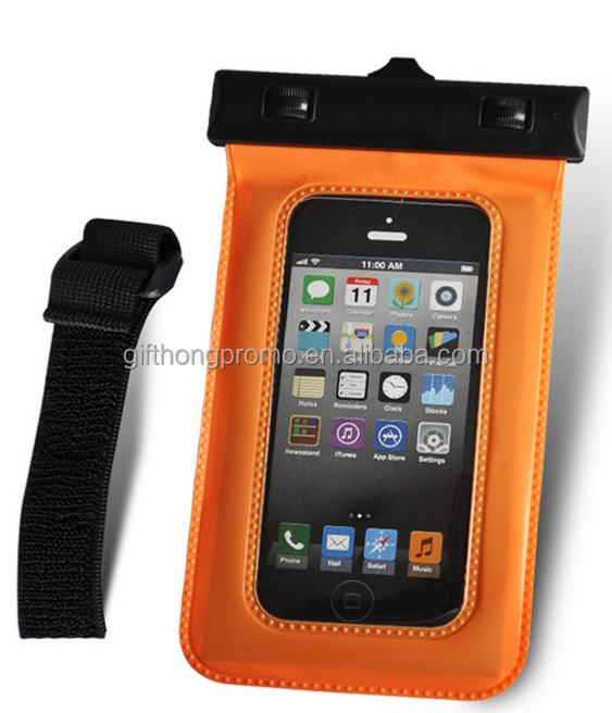 hot selling pvc mobile phone waterproof swim bag , waterproof phone pouch belt