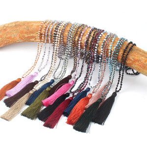 Fashion Boho Jewelry Wholesale Crystal Bead Long Tassel Necklace 15 Colors Popular Women Accessories Cheap Pendant Made in China