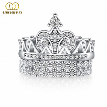 High quality king and queen engagement and wedding ring