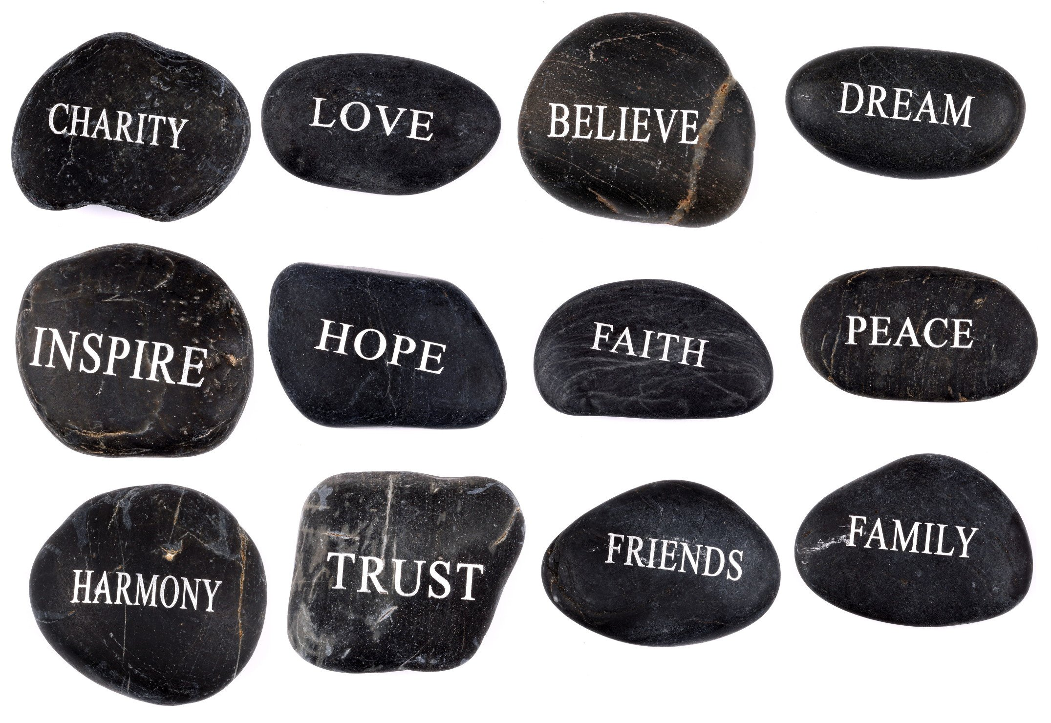Engraved Inspirational Black Stones (12 Different Words- Large 2-3 Inches) from the Holy Land