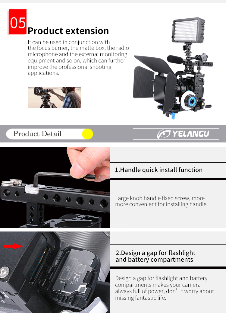 YELANGU C7 Hot Sale Aviation Aluminium High-quality Camera Cage for Camera and Film Equipment