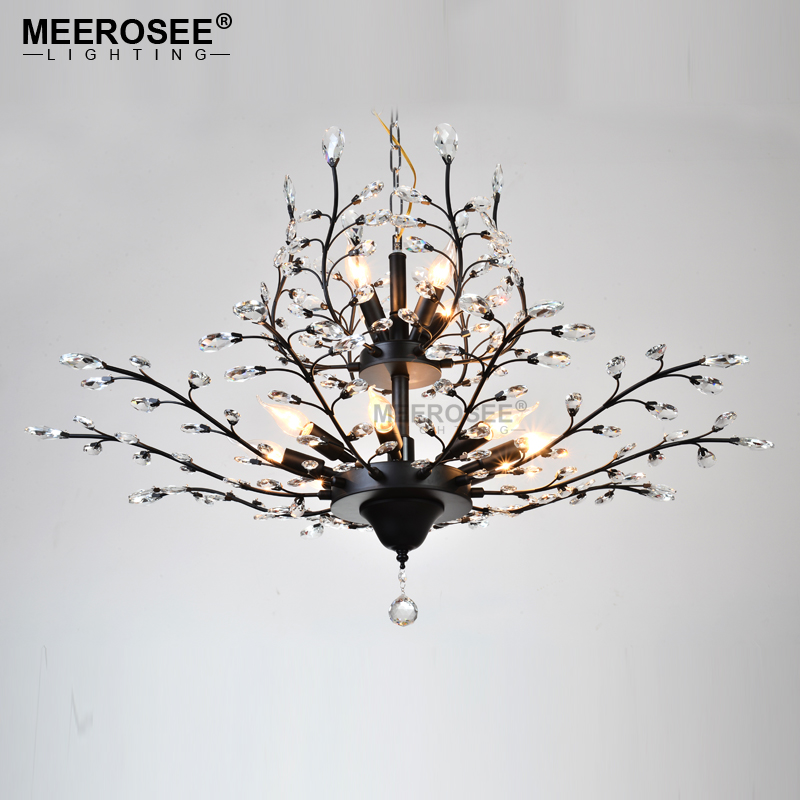 MEEROSEE Crystal Chandelier Black Color Drop Light illumination Crystal Hanging Lamp for Dining room Hotel Cafe MD82082007