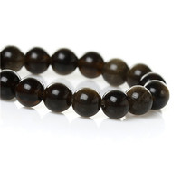 (Grade A) Natural Round Grey Black Obsidian Loose Beads 6mm