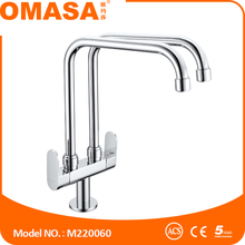 Brass body chrome surface polishing basin faucet kitchen mixer taps double pipes