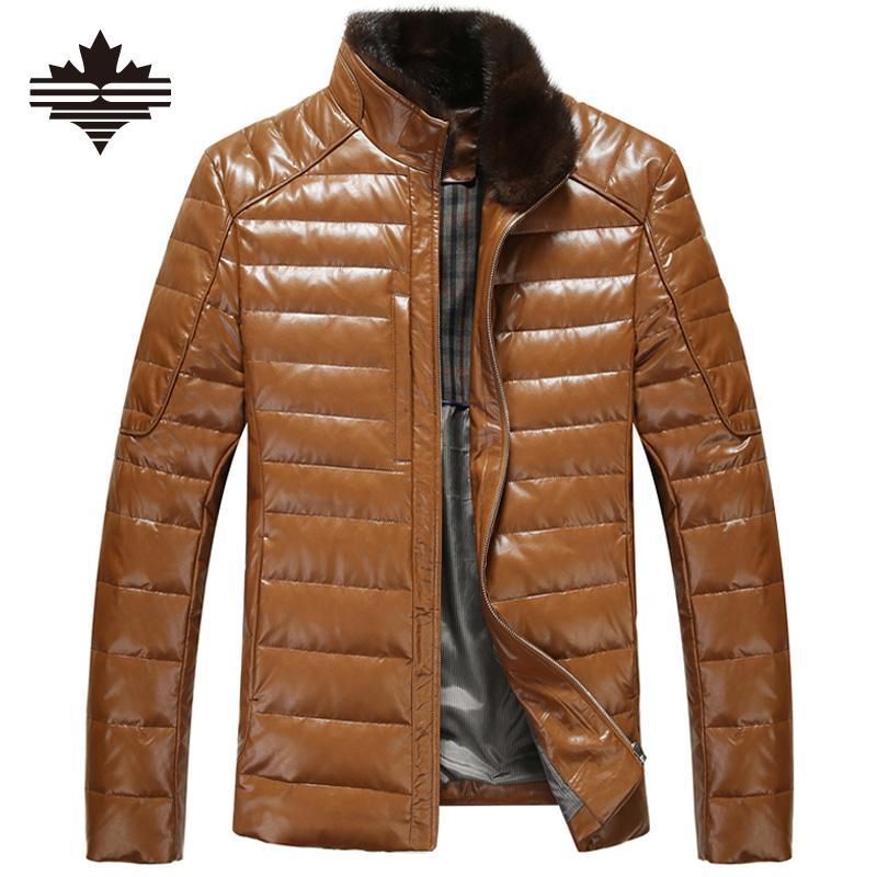 Aliexpress.com : Buy Men's Leather Down Jacket Winter Fur ...