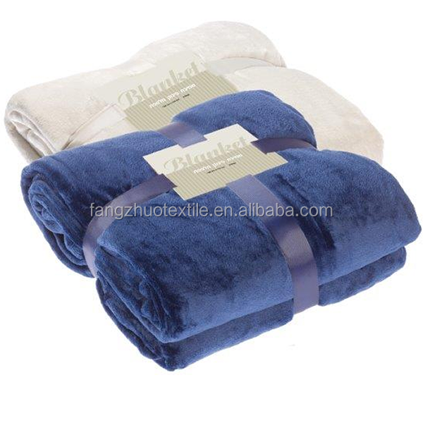 Venta al por mayor listo para nave sólida de color suave manta de lana de coral