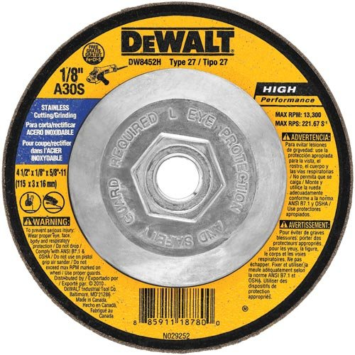 DEWALT DW8452H T27 Stainless Steel Cutting/Grinding Wheel, 5/8-11 Arbor, 4-1/2-Inch by 1/8-Inch