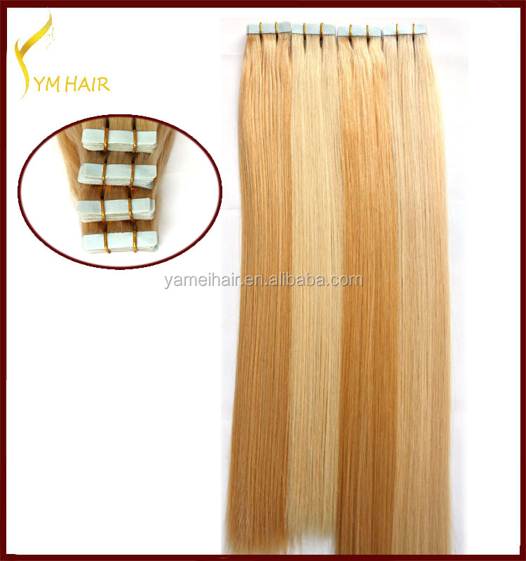 Hight quality 100% brazilian human hair silky straight remy invisible tape hair extension