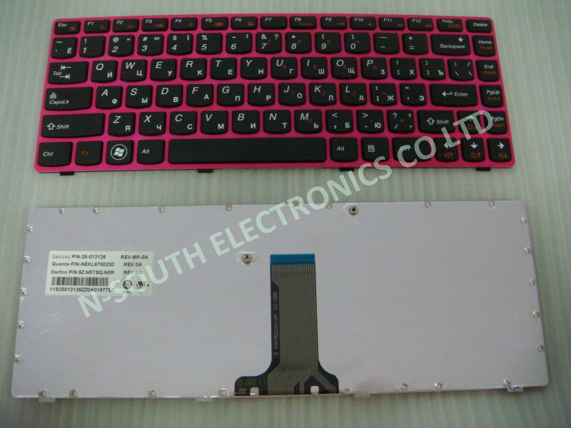 Brand new high quality keyboard for lenovo z470 black pink frame ru layout