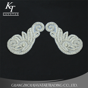 Fashion crystal rhinestone sew o lace fabric with applique patches for bridal dress