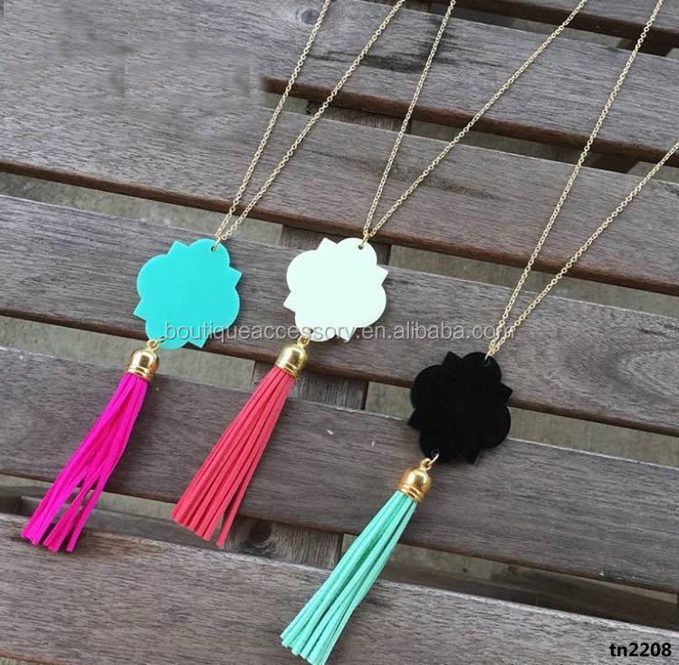 2668bbbc3764 Handmade Monogram Acrylic Quatrefoil Tassel Necklace - Buy Custom ...