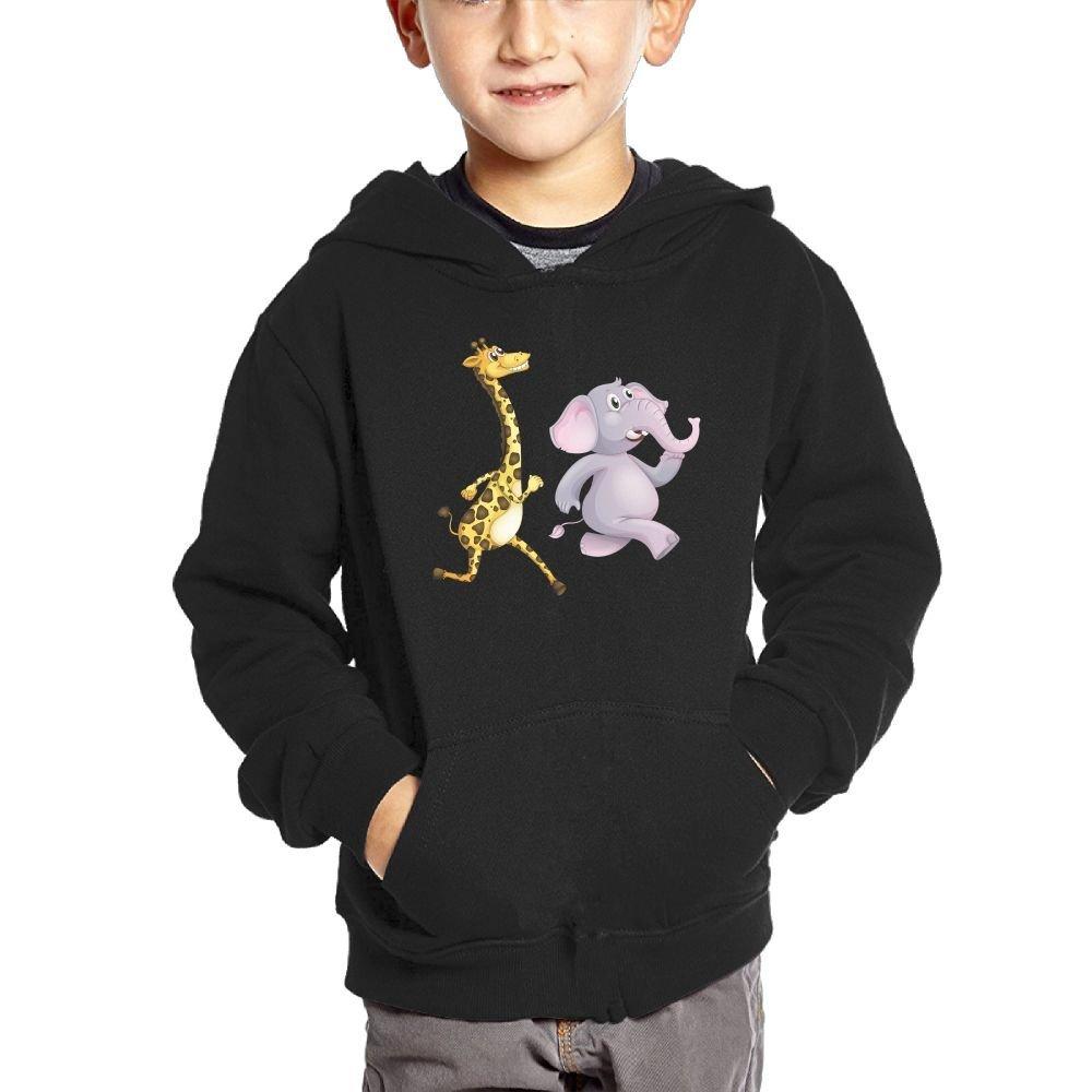 0483c45b46919 Get Quotations · Elephant And Giraffe Friendship Girls Pullover Hoodie  Athletic Pocket Sweatshirts
