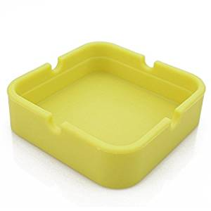 Hong Cheng Silicone Square Ashtray, Pack of 4,Colorfull Premium Silicone Rubber High Temperature Heat Resistant Square Design,Increase, Thickening, Hardness Higher of Ashtray (Yellow)