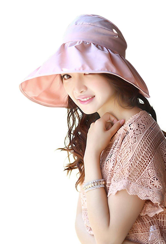 Sun Hats Caps, Women Ladies Girls Fashion Summer Anti-UV Foldable Wide Brim Visor Sun Hats Caps Outdoor Sports Hiking Camping Fishing Beach Sun Hats Fisherman Hats Caps Headwear Topee Pink