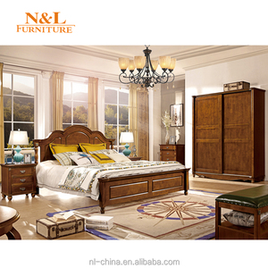 Latest North American Style Solid Wood Bedroom Furniture Double Bed Designs