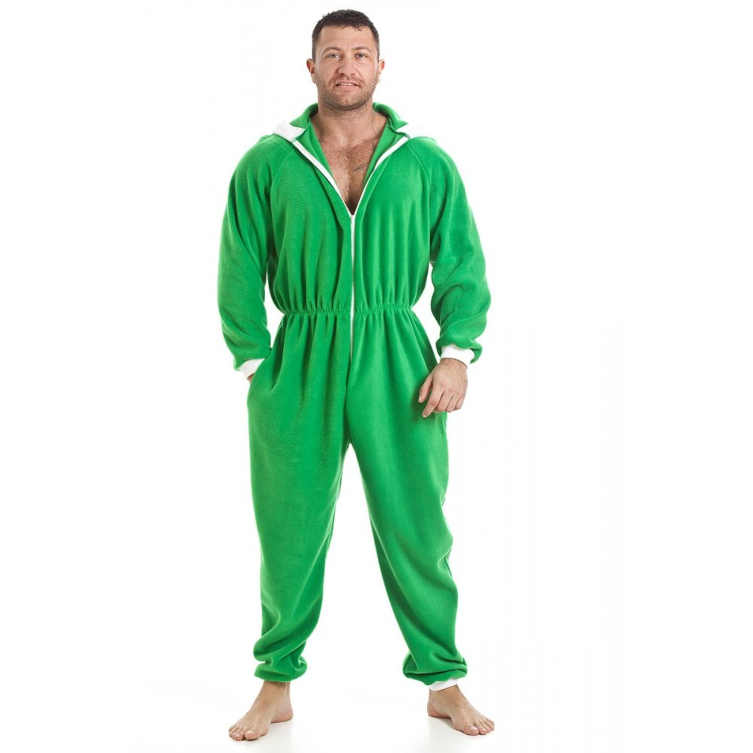 5cc87b5384 Get Quotations · Camille Mens All In One Green Fleece Hooded Pocketed Pyjama  Onesie Size S-5XL