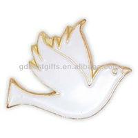 Dove/pigeon White Antique Gold enamel lapel pins badges for promotional item