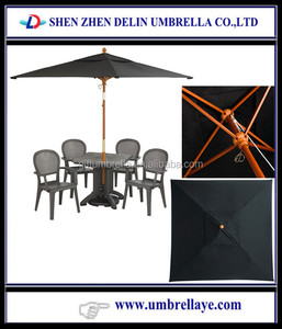 All good selling wood black bamboo garden parasol