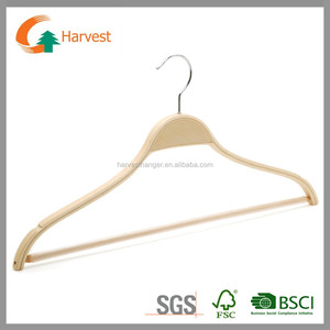 Classic Natural Laminated Wooden Hangers with round bar/clips