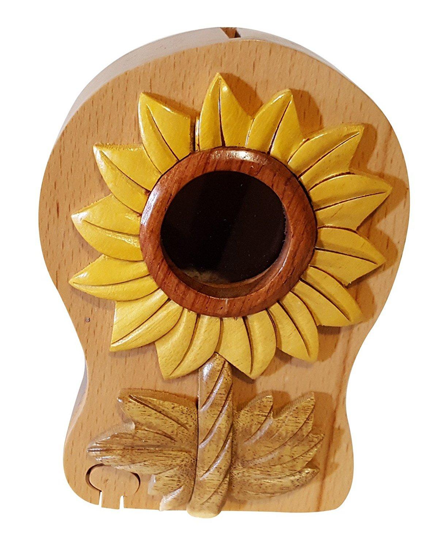 Handmade Flower 3 Wooden Money Box Piggy Bank (4776)