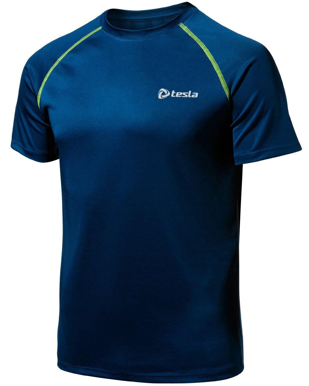 CLSL TM-MTS03-MNB_2X-Large j-3XL Tesla Men's HyperDri Cool T Shirt Sports Running Short Sleeve Athletic Top MTS03