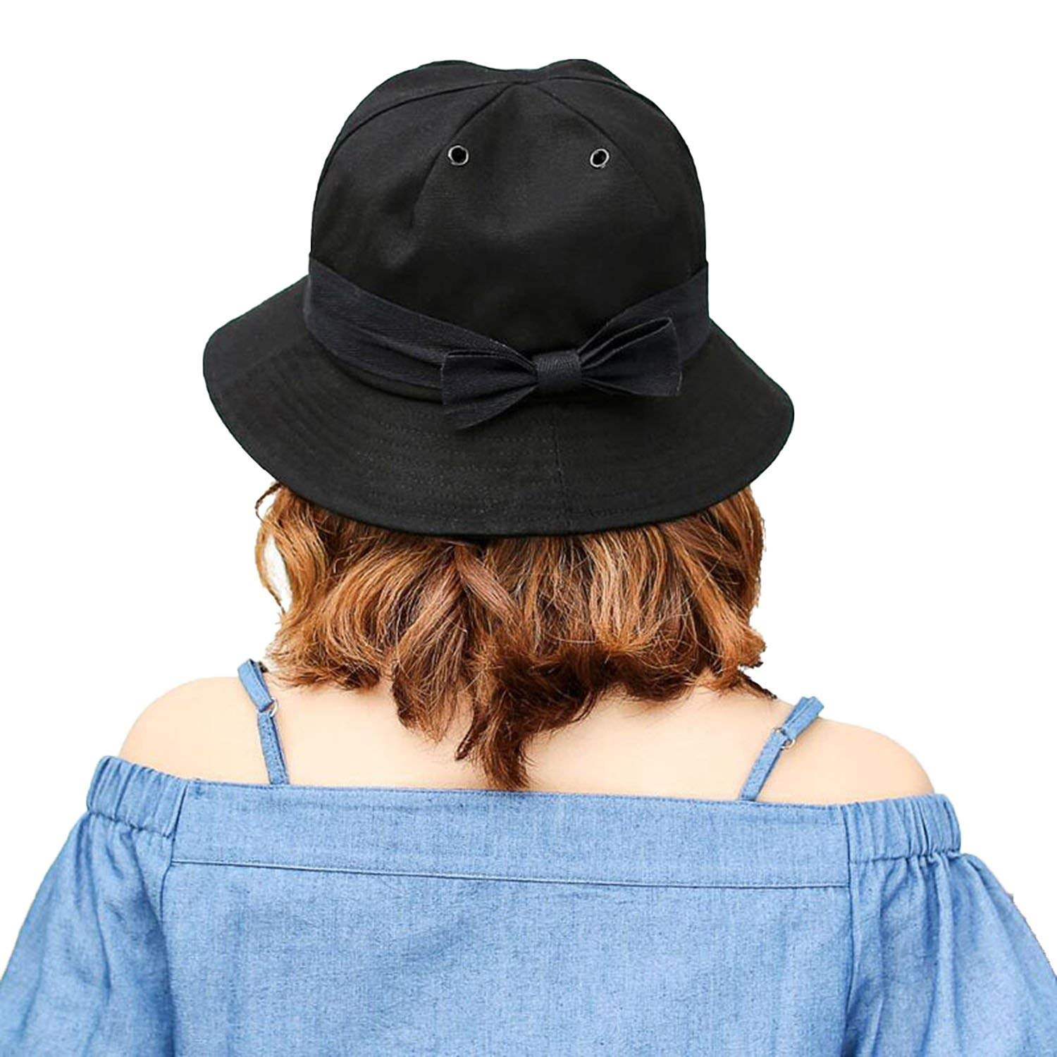 e8d85b98d8c Get Quotations · Ladies Fisherman Hat Korean Version of The Tide Bow Visor  a Generation of Sun Hat Casual