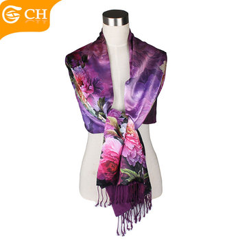 99ced8afa5d1c Latest Design Fashion Wholesale colorful ladies 100% silk neck scarf with  cashmere in the back