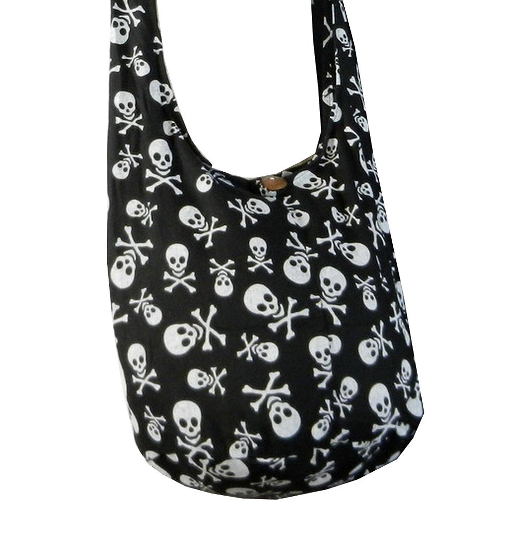 130fd62031 Get Quotations · BTP! Skull Punk Rock Hippie Hobo Thai Cotton Sling Crossbody  Bag Messenger Purse Small in