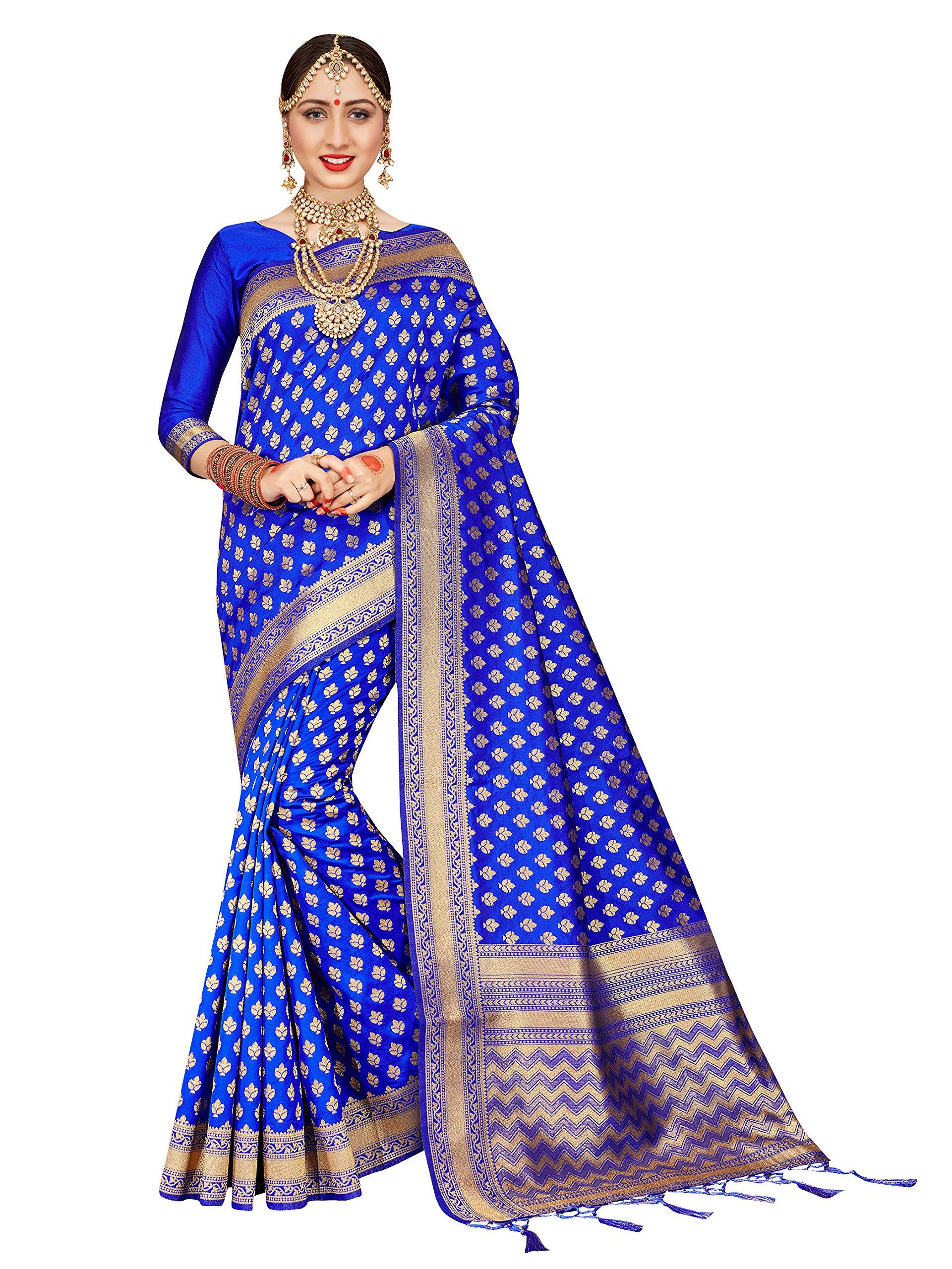 ELINA FASHION Sarees For Women Banarasi Art Silk Woven Saree l Indian Wedding Traditional Wear Sari and Blouse