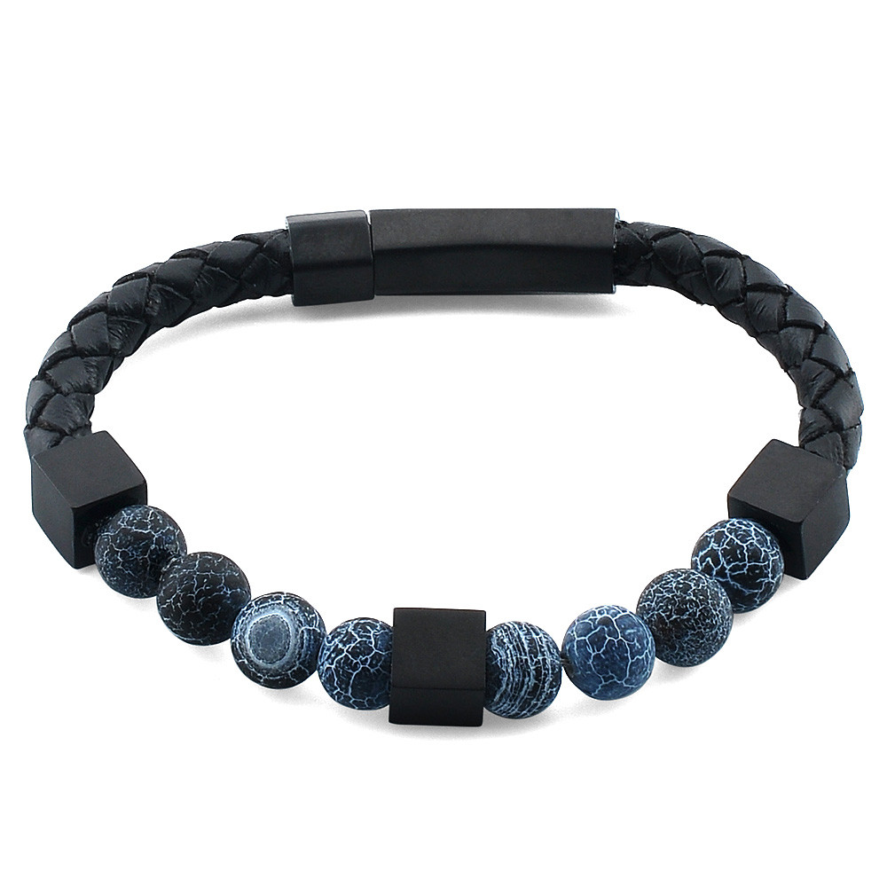 Online Shopping Custom Jewelry Leather Natural Black Lava Stone Bead Bracelet Mens