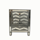 Silver Glass 1 Drawer 1 Door Mirrored Bedside Table Cabinet