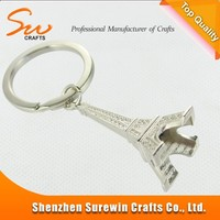 Eiffel Tower silver color metal key chain for colletion and souvenir