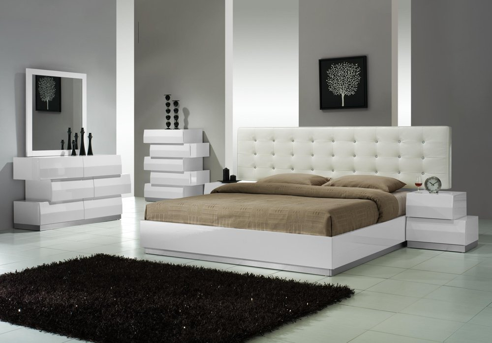 Get Quotations · Ju0026M Furniture Milan White Lacquer With White Leatherette  Headboard Queen Size Bedroom Set