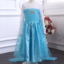 Retail designer long sleeve girl font b dress b font Child Blue ELSA font b dress