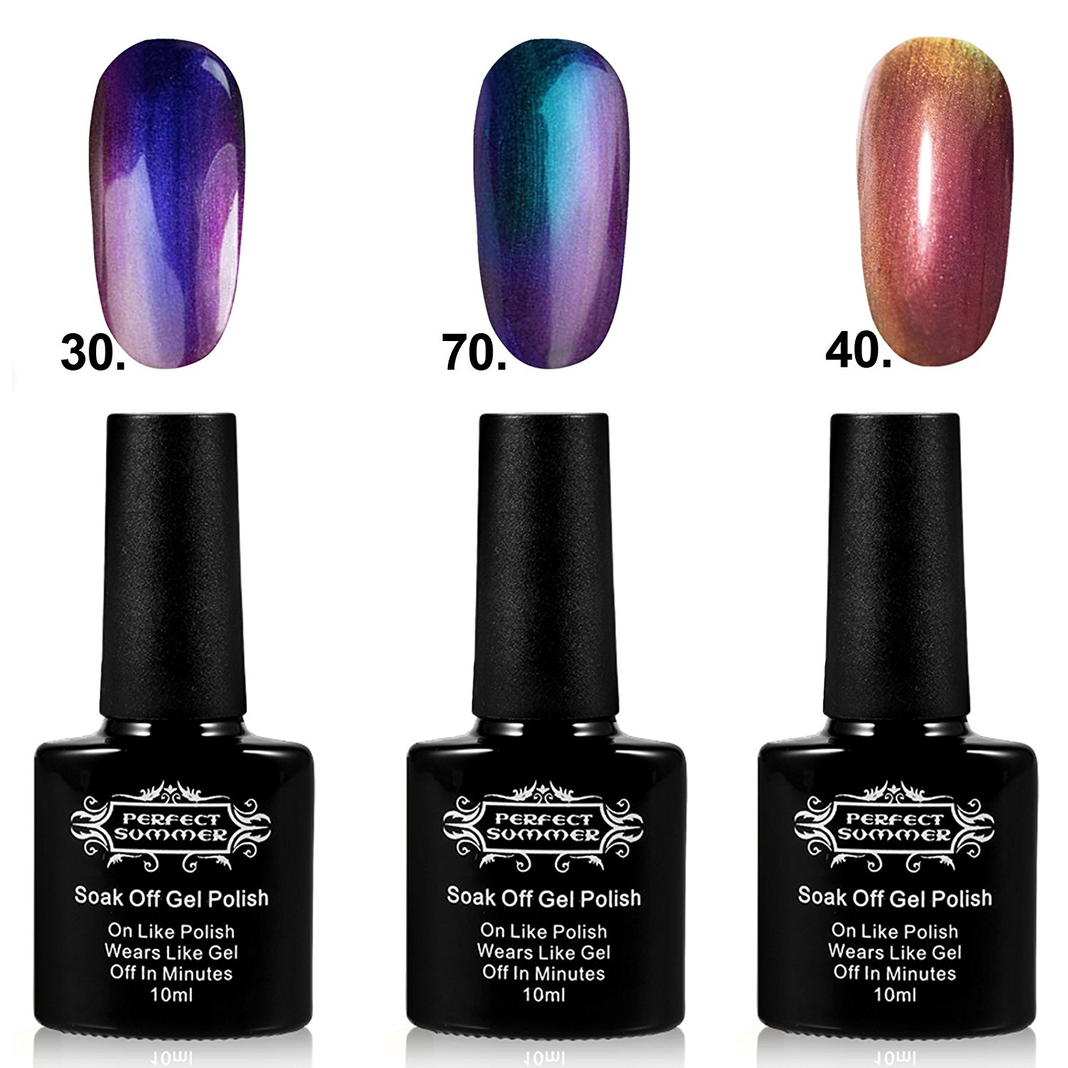 Perfect Summer 3pcs 10ml Mood Changing Nails Lacquers Sets Miracle Chameleon LED UV Gel Polish Colors Changes Soak Off Acrylic Kits #12
