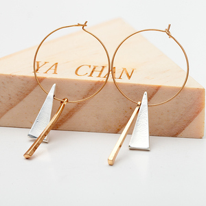 Women Gold Big Circle Hoop Earrings Vintage Minimalist Geometric Triangle Metal Pendant Earrings Jewelry