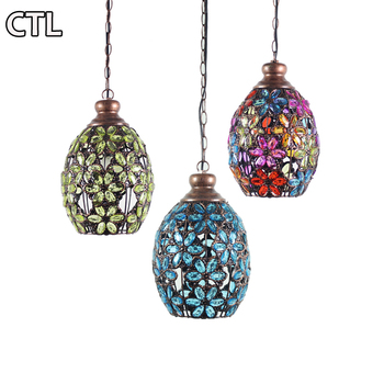 Southeast Asian iron vintage chandelier retro decorative pendant lights for coffee shop