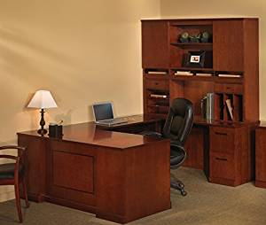 "Mayline U Shaped Desk W/Hutch Overall Footprint: 72"" X 102"" X 72"" Desk: 72""W X 30""D X 29 1/2""H, Bridge: 48"" X 20"", Credenza: 72""W X 24"" - Bourbon Cherry - Bridge on Left (Right Shown)"