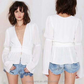 e9eb73434644f 2015 latest design bell sleeve white silk top white long sleeve silk blouses  for women