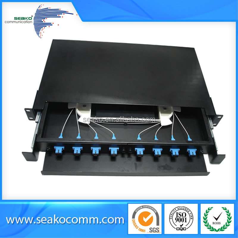 "fiber optic patch panel, 8 ports, 1U, 19"", SC,FC,ST,LC , moderate price"