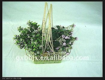 Rectangle Wire Decorative With Green Pearl Indoor Flower Hanging ...