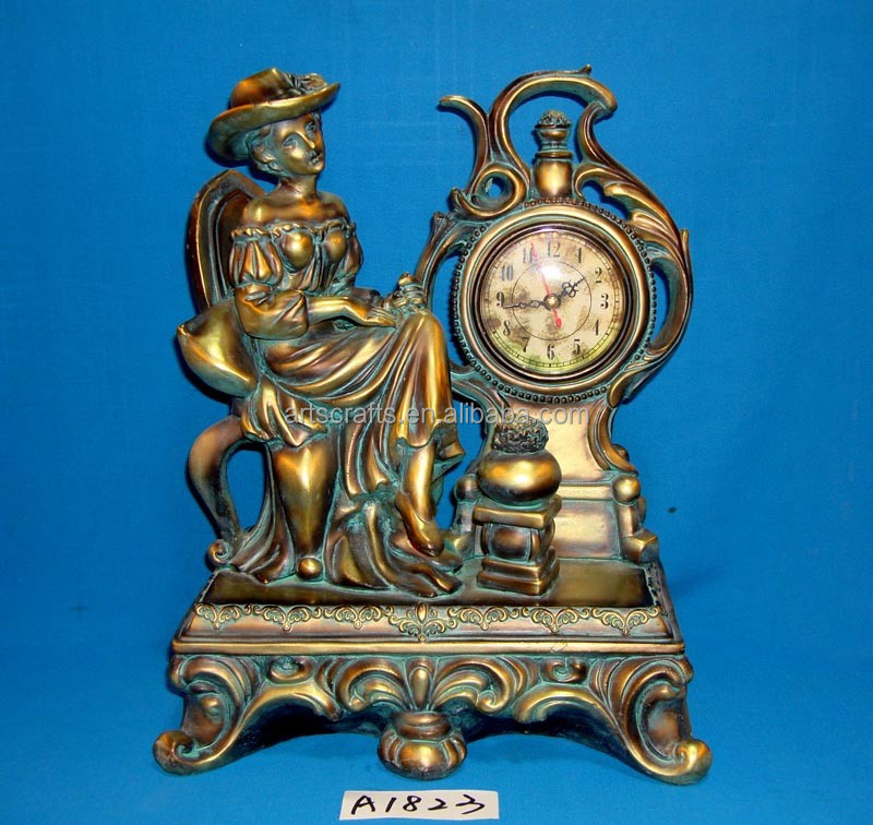 Antique table clock with figure for home decoration