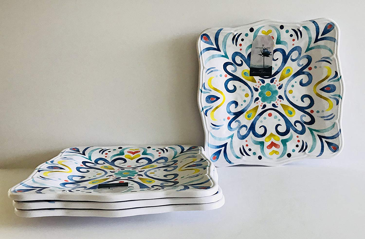 Set Of 4 | Floral Decorative Pattern | White With Blues, Greens, Red And Yellow Flower Melamine Square | Lunch | Salad | Dessert Plates | 9 inches