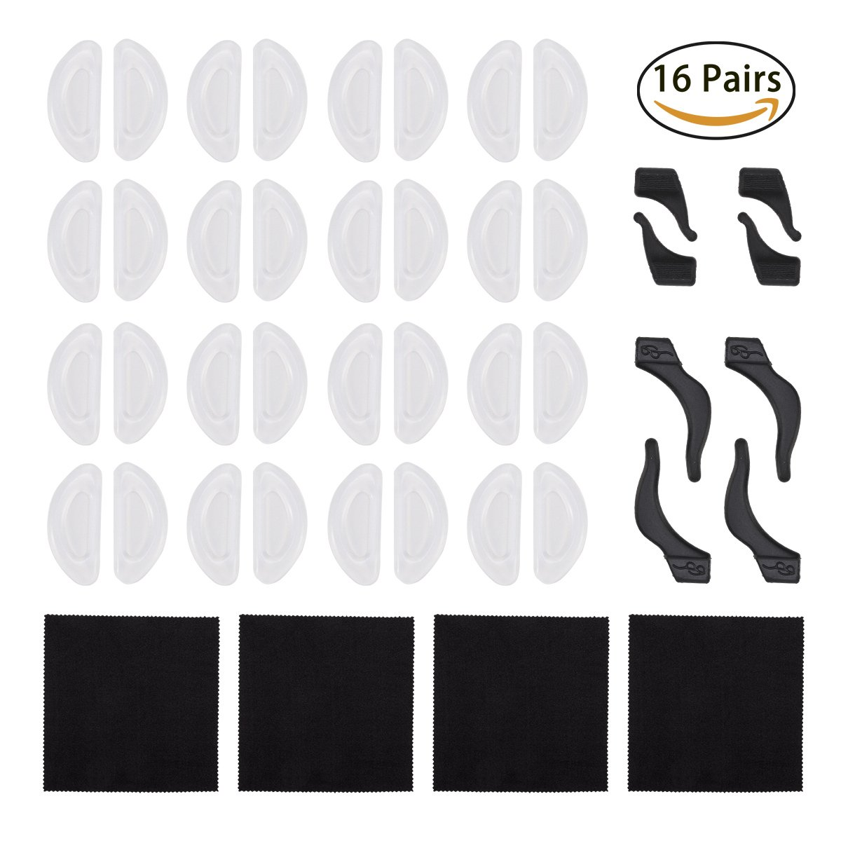 16 Pairs Small Clear Silicone Nose Pads Adhesive Glasses with 4 Pairs Black Eyewear Retainers Anti-slip Holder Silicone Ear Grip Hook for Eyeglasses