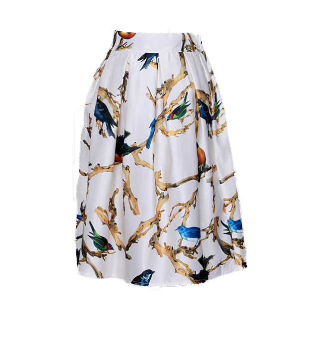 d19309654 Get Quotations · 2015 Summer Fashion Elegant Vintage Bird Painting Printed High  Waist Pleated Long Umbrella Midi Skirt For